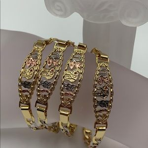 bracelets, for boys and girls, 14k gold plated,